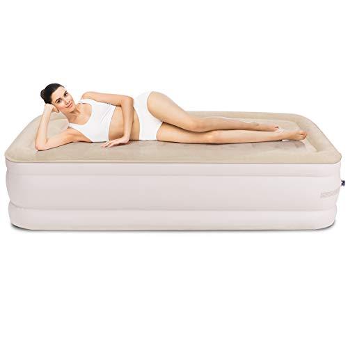 COSTWAY Luftbett mit eingebauter elektrischer Pumpe, Luftmatratze selbstaufblasend, Gästebett inkl. Tragetasche (190 x 99 x 46cm)