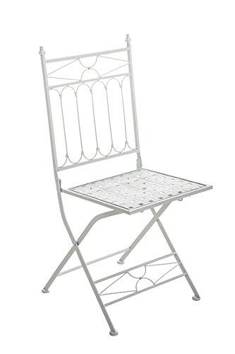 Chaise en fer coloris blanc - 95 x 40 x 40 cm - PEGANE -