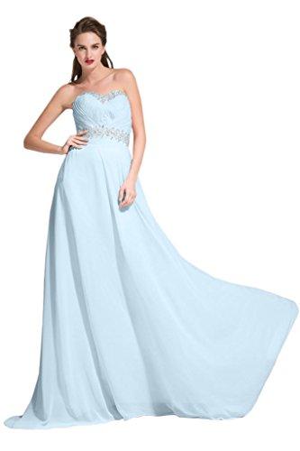 Sunvary Scollo quadrato Beautiful fondo arricciato abiti da damigella d'onore, per donna Light Sky Blue