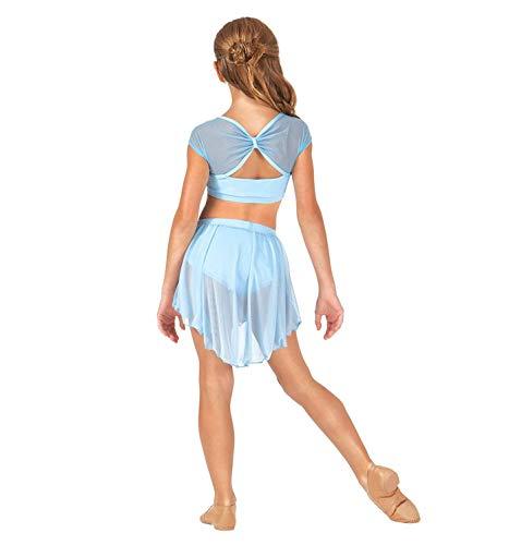 IEFIEL Traje de Bailarina Ballet con Falda Tul Conjunto de Ballet Vestido de Danza Patinaje Artistico Tango Latino Jazz Gimnasia 4-14 Años Azul 14Años