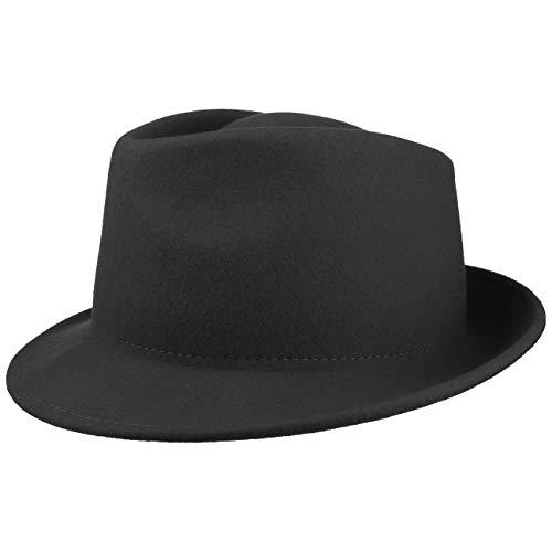 Lipodo Trilby Hut aus Wollfilz Damen/Herren | Filzhut Herrenhut Made in Italy | Italienischer Wollhut Herbst/Winter | Wollfilzhut schwarz M (56-57 cm)