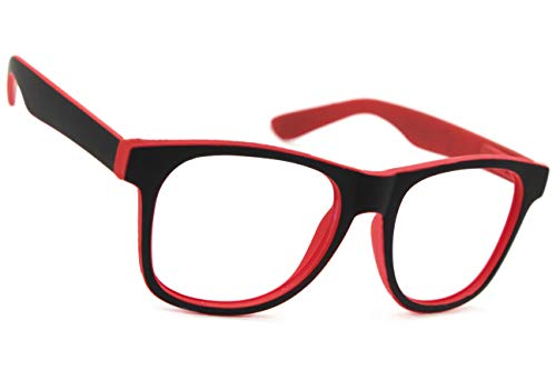 NEW UNISEX (Damen Herren) Retro Vintage Brille CLEAR LENS Saubere Linsen Shades Morefaz(TM) (Rubi Red Black clear lens)