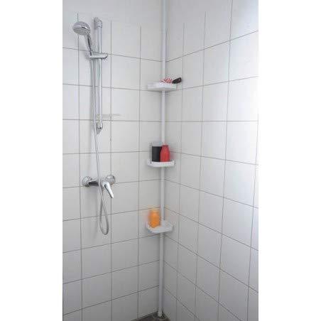 Colonne Etagère de douche télescopique blanche