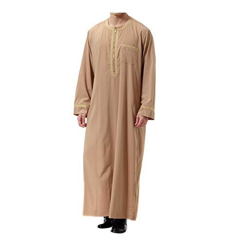 Xinvivion Muslim Herren Robes - Lange Ärmel islamisch Mittlerer Osten Dubai Thobe Saudi Arabien Ethnisch Dishdasha Kaftan ()