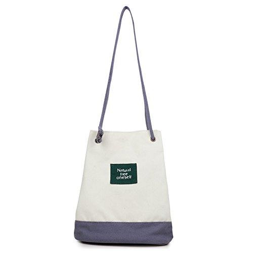 Young & Ming - Cinturino sottile Tela Bucket Bag Totes Donna Female Fresh Borse a spalla Handbag Canvas Shoulder Bag Borse a tracolla grigio