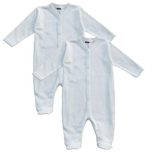 MEA BABY MEA BABY Unisex Baby Schlafstrampler aus 100% Bio-Baumwolle im 2er Pack. Schlafstrampler Weiß (Creme), Schlafstrampler für Junge, Strampler für Mädchen., 56, Jungen