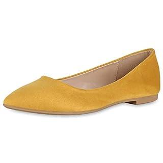 SCARPE VITA Damen Klassische Ballerinas Slippers Slip On Schuhe Flats 174424 Gelb Gelb 36