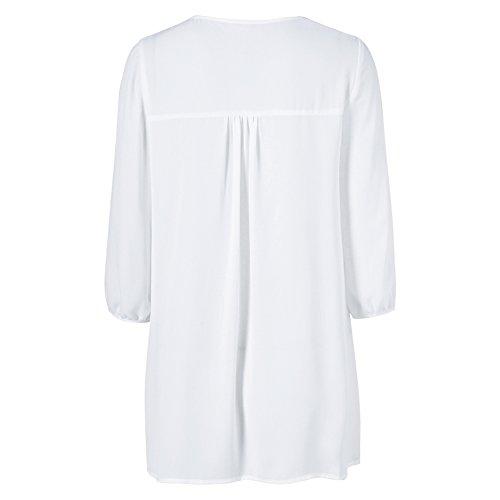 iBaste Femmes Printemps Eté Douce Dentelle Mousseline Sexy Creux Col V T-Shirt Chemisier Blanc1