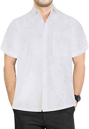 LA LEELA Männerarbeit Klassische zufällige tägliche Abnutzung Regular fit Strand Blumen gedruckt Hawaiihemd Weiß_AA174 XL-Brustumfang (in cms):121-132