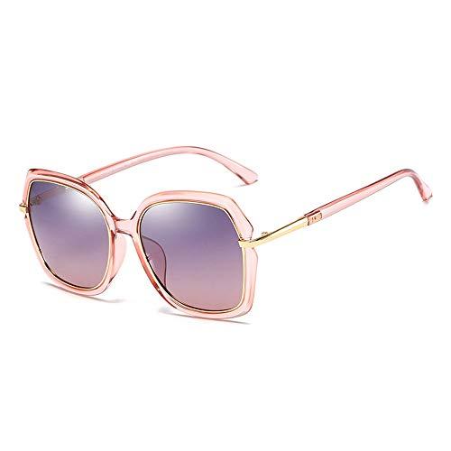 Frauen Retro Big Full Round Frame Klassische Mode UV-Schutz TAC Polarisierte Sonnenbrille Für Brille (Color : Rosa, Size : Kostenlos)