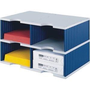 styrodoc Sortierstation Duo JUMBO mit 4 Fächern/268022238 485x331x293 grau/blau