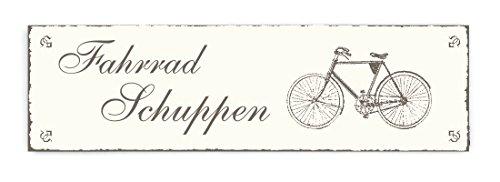 SCHILD Türschild « FAHRRAD SCHUPPEN » Shabby Vintage Holzschild Dekoschild Dekoration Bike Radfahrer (Fahrrad Schild)