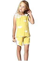 Night Suit for Toddlers - Yellow Color - Cotton Material - Printed Night Suit - Sleeveless Top and Bermuda Set - Available for 2/3/4/5/6 Year old Girls - Casual wear for Kids