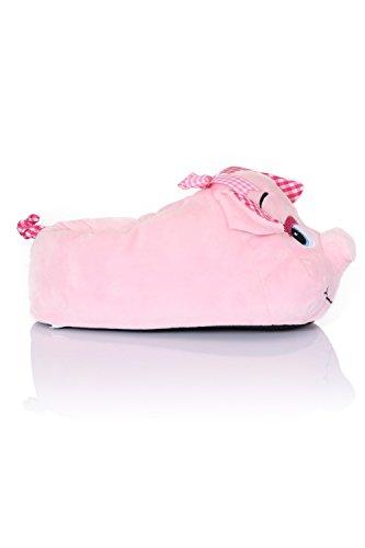 Chaussons fantaisie en peluche - animal - femme/fille Cochon rose
