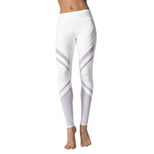 Yoga Hosen Damen, DoraMe Frauen Hohe Taille Sport Pants Yoga Fitness Leggings Sportlichen Hose (M, Weiß)