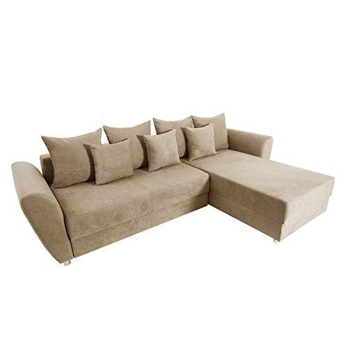 Invicta Interior Modernes Ecksofa Palma Soft Baumwolle Greige Federkern Schlaffunktion Schlafsofa Schlafcouch Couch