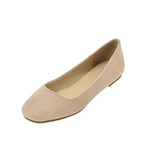 AgooLar Damen Rein Low-Heels Schließen Zehe Ziehen auf Pumps Schuhe, Cremefarben, 43