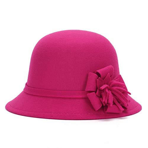 GOUNURE Wollfilz Roll-up Eimer Cloche Hut Fedora Hüte für Frauen Vintage Trilby Hut Jazz Cap Sonnenhut mit Blume -