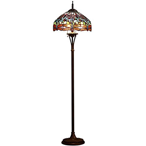 uchte, Tiffany Stehleuchte Mit Libelle Und Reißverschlussschalter Glasmalerei Lampe, Wohnzimmer Dekoration Lichter E27 ()