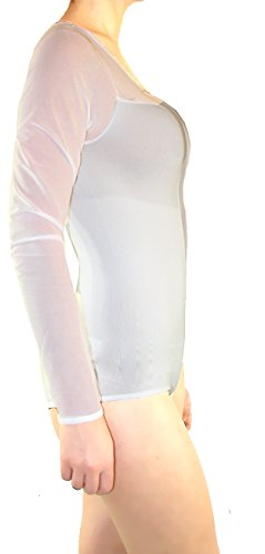 Damen Vintage Body Mieder Shapewear / Form Shirt Transparent Tüll Weiß