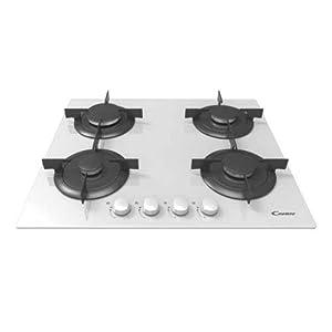 Candy CVG 64 SPB Integrado Encimera de gas Negro, Color blanco – Placa (Integrado, Encimera de gas, Vidrio, Negro, Blanco, 1000 W, 5,1 cm)