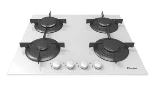 Candy CVG 64 SPB built-in Gas Black,White - Hobs (Built-in, Gas, Glass, Black, White, 1000 W, 5.1 cm)