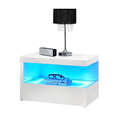 [en.casa] LED Nachttisch Nachtschrank Schublade Nachtkommode Kommode Ablage RGB Weiß