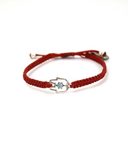 Imagen de rojo macramé pulsera con plata de ley mano de fátima encanto ajustable para las mujeres