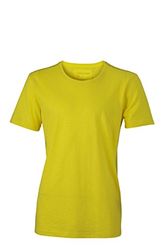JAMES & NICHOLSON T-Shirt in aktuell trendiger Slub Qualität Yellow