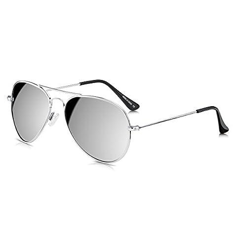 Sunglass Junkie Silver Mirror Aviators Sunglasses. Vintage / Retro Pilot Classic. Mens & Womens Top Gun Style Double Bridge Metal Frame Shades. 100% UV Protection UV400 Smoke Solid Mirrored