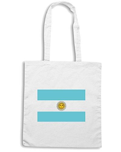 T-Shirtshock - Borsa Shopping TM0159 Argentina flag Bianco