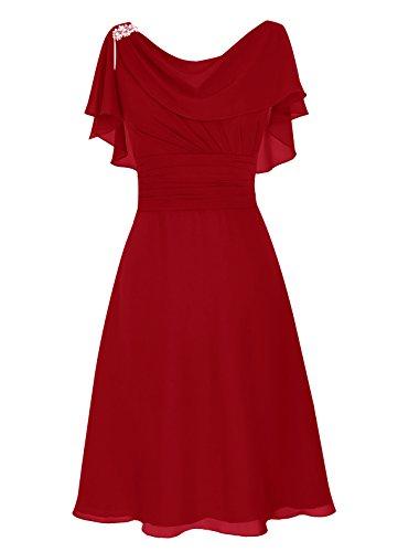 Dresstells, Robe de mère de mariée Robe de demoidelle d'honneur longueur au genou col ras du cou Rouge Foncé