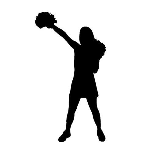 Cheerleader Vinyl Decal Window Sticker Car Wall Sport Girl Go Team Rah Pom Poms, Die Cut Vinyl Decal for Windows, Cars, Trucks, Tool Boxes, laptops, MacBook - virtually Any Hard, Smooth Surface