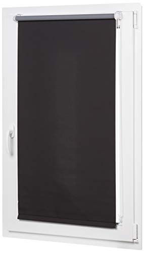 Amazonbasics - tenda a rullo oscurante con rivestimento in colore coordinato, 86 x 150 cm, nero