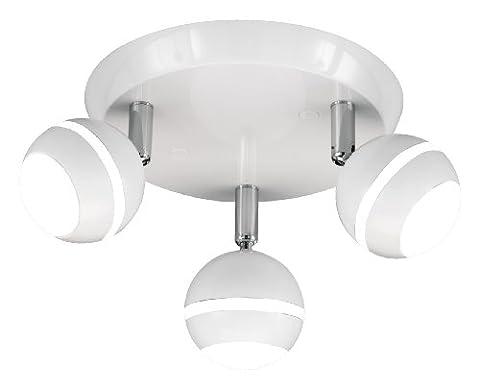 Trio Leuchten 828230301 Rotary Light Fitting Plastic White Glossy with 3 x 4.2 W LEDs Diameter 21 cm