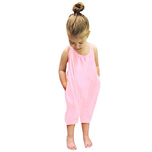 domybest Baby Mädchen einteiligen Träger Strampelanzug Jumpsuits Sommer Pure Color Hose Kleidung rosa rose No.110/Age 2-3Y