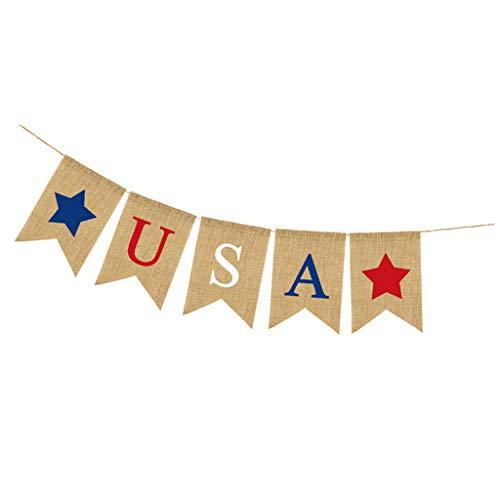 Baoblaze Rustikale Amerika Unabhängigkeitstag Girlande Banner Wimpelgirlande Wimpelkette für Wand Tür und Fenster, aus Sackleinen