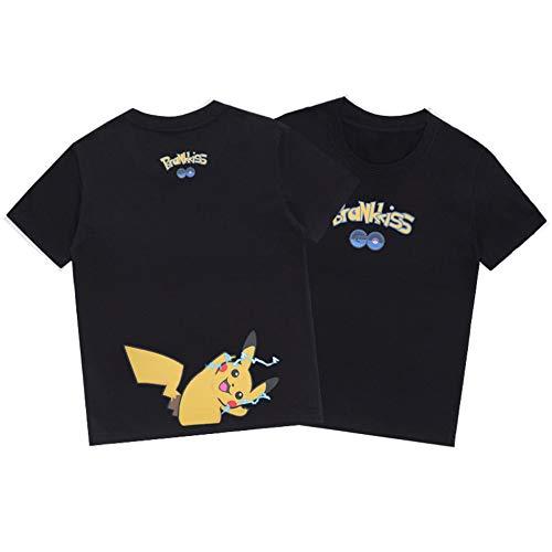 WQWQ Pokemon lässig Kinder Kurze Ärmel für Männer und Frauen Pikachu Weihnachten Kurze Ärmel Pokémon Kostüme Sportmode Pika Kurze Ärmel,B,XL (Weibliche Pikachu Anime)