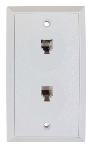 Flush Mount Duplex Wall Jack, 6 Conductor, 6 Position, Plastic, White, Single Gang, 2 Ports by Allen Tel Products Flush Mount Wall Jack