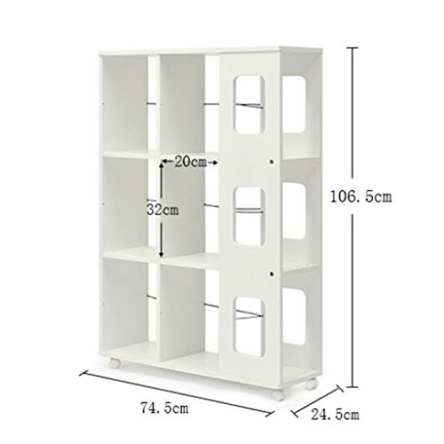 JZX Bücherregal, mobiles Bodenlagerregal,Weiß -