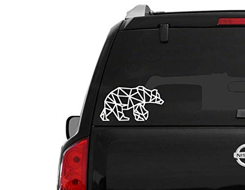 er Bär-Aufkleber für Autofenster, jeder Größe, geometrischer Bär-Aufkleber, Bär-Clipart Woodland-Design ()