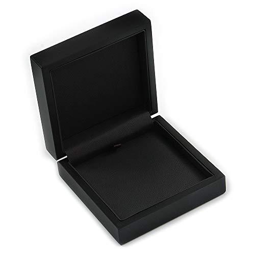 hmuckschatulle für Ohrringe, Brosche, Armband und Anhänger aus mattiertem Holz, Schwarz ()