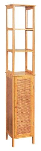 Bambus Badmöbel Hochschrank 3 Regalen oben und mit 1 Tür unten Badezimmer Möbel Bad