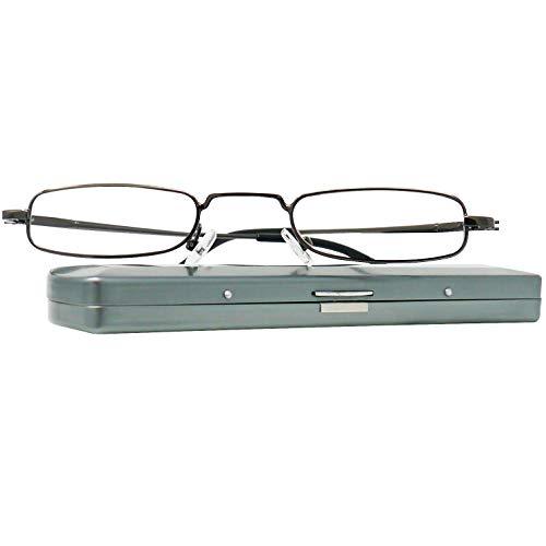Leichte Metall Mini Lesebrille, Edelstahl Rahmen (Graphit), mit GRATIS Slim-Fit Alu Etui, Lesehilfe für Damen und Herren von Mini Brille +2.0 Dioptrien