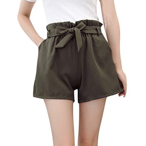 WOZOW Damen Hosen Shorts Kurze Hosen Plus Size Solid Rüschen Falten Gefaltet Kordelzug Zug Tie Strappy Loose Long TrousersA Line Casual Mini (2XL,Grün) Violet Solid Tie