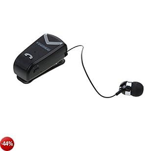 MagiDeal Retrattile Bluetooth Cuffia Wireless Headset Auricolare Per IPhone - Nero