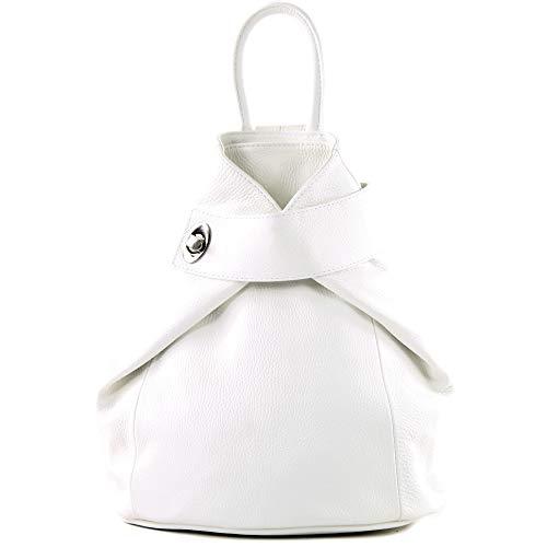 modamoda de - T179 - ital Damen Rucksack Tasche aus Leder, Farbe:Weiß Damen Weiß Leder