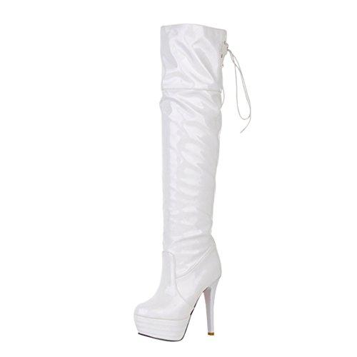 Boots Damen Wasserdicht 12cm Heels Winter Mit Plateau High Lack Stiletto Schnürstiefel Ye Overknee Weiß Absatz aZqdO1Ox