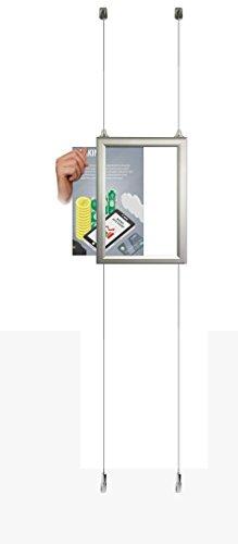 A4Schiebetür SCHNAPPRAHMEN Aluminium doppelseitig Fenster Kabel Display Stahl Draht Seil System Kit Ceiling to Floor With 1 A4 Portrait pocket -