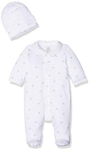 Petit Bateau Dors Bien + Bonnet Grenouillère Mixte bébé Blanc (Ecume/Beige Shitake) 0-3 Mois (Taille Fabricant: 1M 1 Mois) Lot de